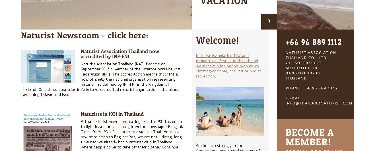 ​Naturist Association Thailand launches paid membership