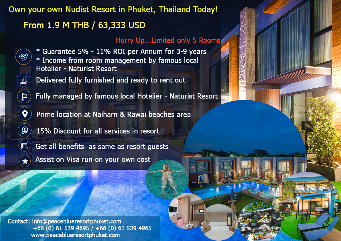 Own your own Nudist Resort in Phuket Thailand today